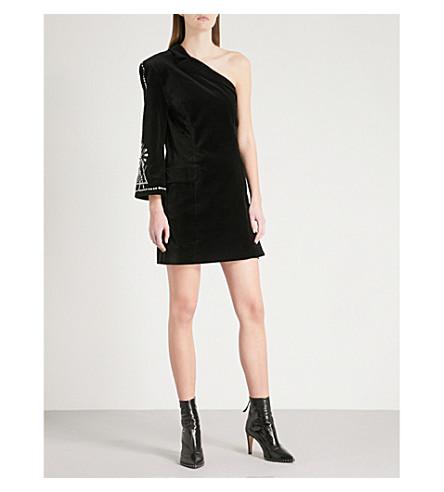 MO&CO. One-shoulder embellished velvet dress (Black