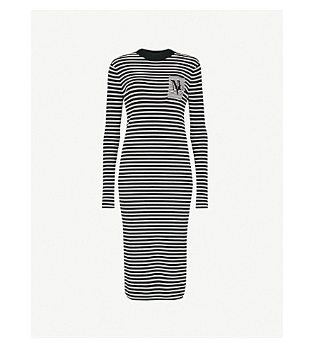 MO&CO. Striped knitted jumper dress (Black+and+white