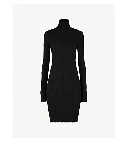 MO&CO. Turtleneck ribbed-knit wool dress (Black