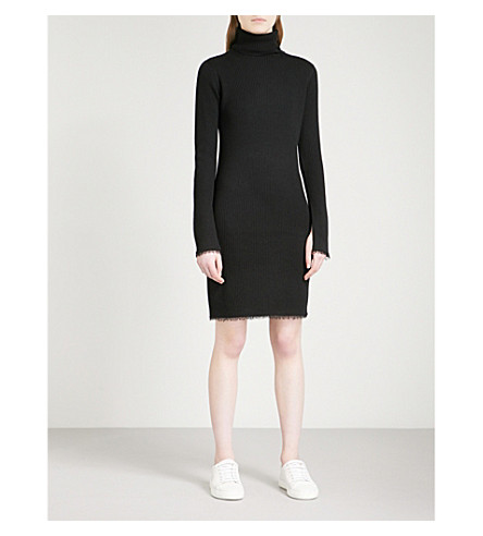 MO&CO. Turtleneck ribbed-knit wool dress (Black
