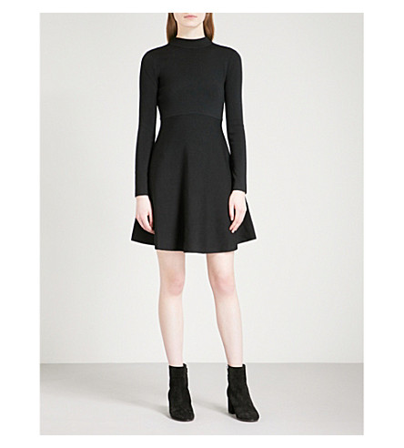 MO&CO. Fit-and-flare wool-blend dress (Black