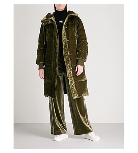 MO&CO. Longline velvet-down puffer coat (Capulet+olive