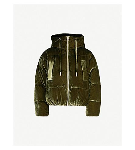 MO&CO. Short velvet-down puffer coat (Capulet+olive
