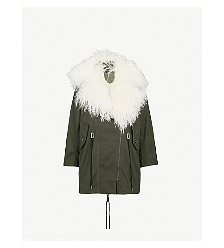 MO&CO. Padded woven and down-blend shearling coat (Darkest+spruce