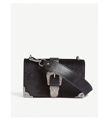 MO&CO. Velvet cross-body bag (Black