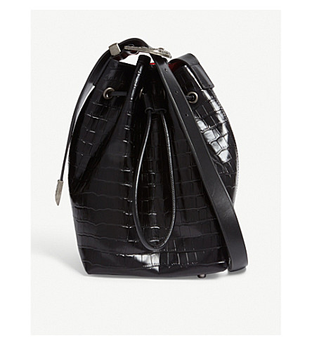 MO&CO. Croc-embossed bucket bag (Black