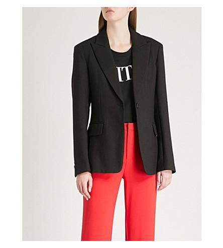 MO&CO. Corset-tie twill blazer (Black