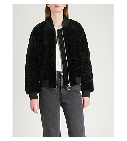 MO&CO. Lady Ocean padded velvet bomber jacket (Black