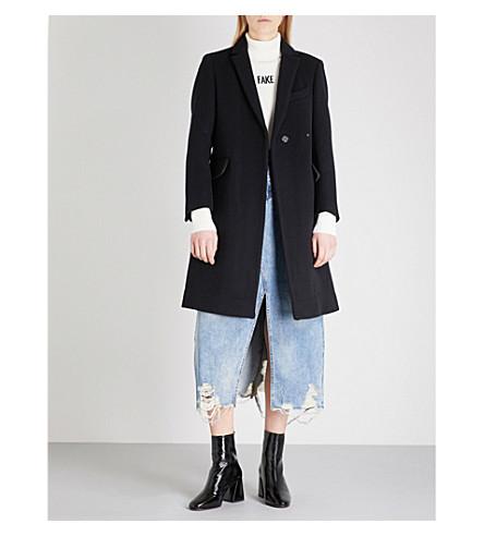 MO&CO. Notch-lapel wool-blend coat (Black