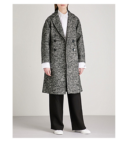 MO&CO. Notch-lapel double-breasted tweed coat (Black+and+white