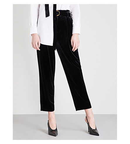MO&CO. Straight-leg velvet trousers (Black