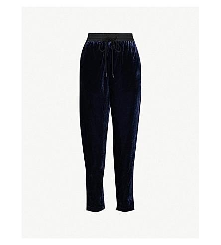 MO&CO. Relaxed-fit velvet jogging bottoms (Peacoat