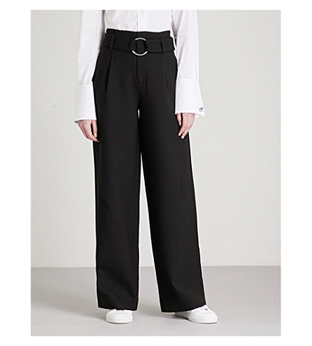 MO&CO. Belted high-rise wide-leg woven trousers (Black