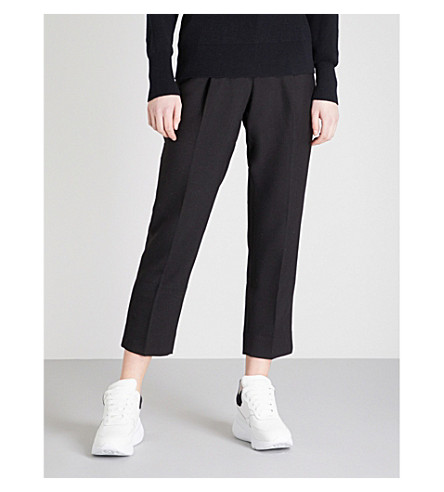MO&CO. Tapered-leg woven trousers (Black