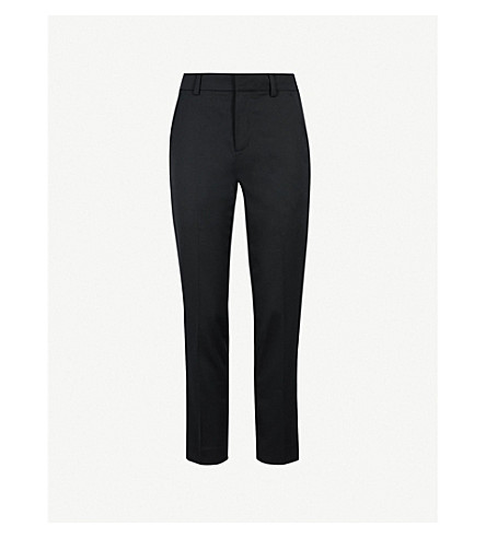 MO&CO. Cropped high-rise wool-blend trousers (Black