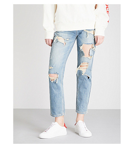 MO&CO. Distressed straight high-rise jeans (Light+denim+blue