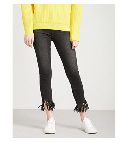 MO&CO. Destroyed skinny high-rise jeans (Black+denim