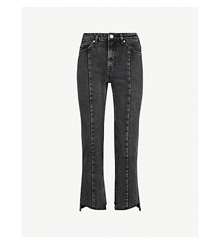 MO&CO. Notched-hem skinny cropped high-rise jeans (Black