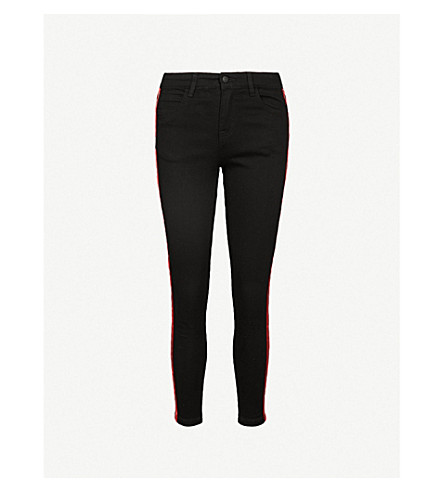 MO&CO. Side-stripe skinny cotton-blend trousers (Black+denim
