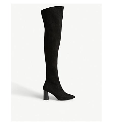 MO&CO. Thigh length velvet boots (Black