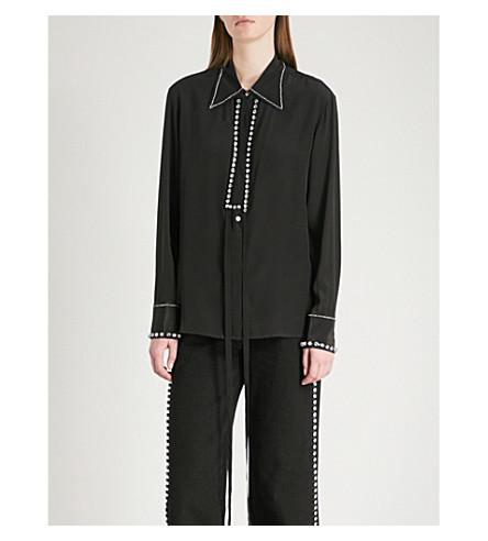 MO&CO. Crystal-embellished silk-crepe shirt (Black