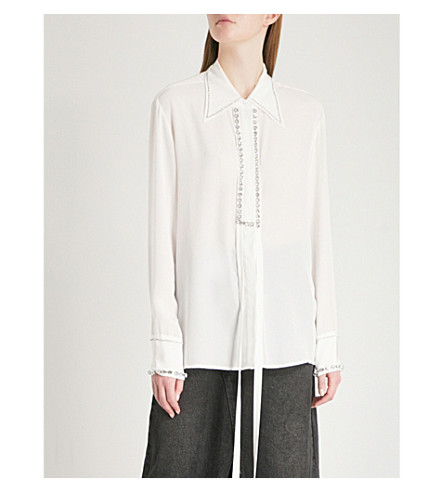 MO&CO. Crystal-embellished silk-crepe shirt Snow white Outlet Largest Supplier Real Sale Online GicIUIUU