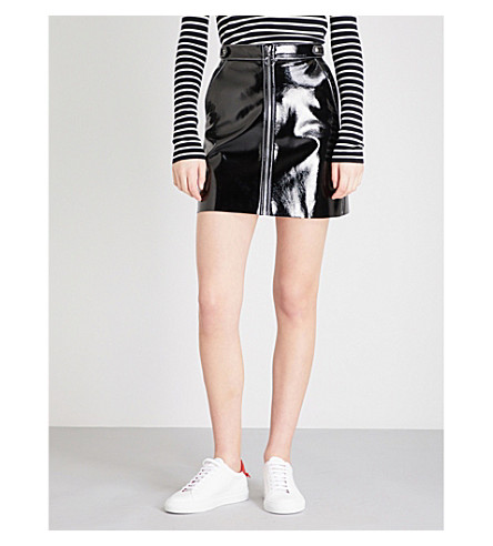 MO&CO. Zip-detail PVC skirt (Black