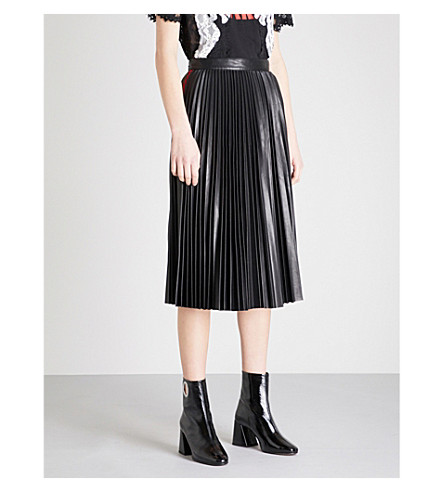 MO&CO. Side-stripe pleated faux-leather skirt (Black