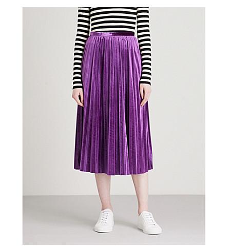MO&CO. Pleated velvet midi skirt (Imperial+palace