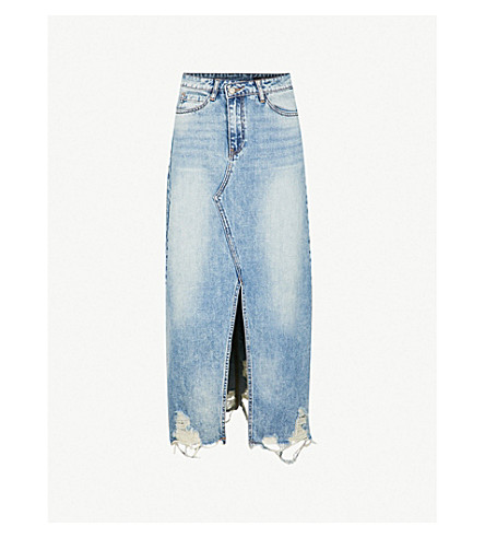 MO&CO. Distressed denim midi skirt (Light+denim