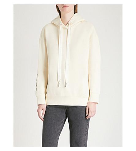 MO&CO. Slogan-embroidered cotton-jersey hoody (Gardenia