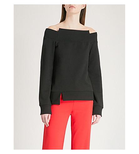 MO&CO. Off-the-shoulder cotton-jersey sweatshirt (Black
