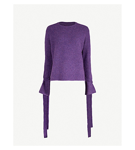 MO&CO. Tie-sleeve knitted jumper (Blue