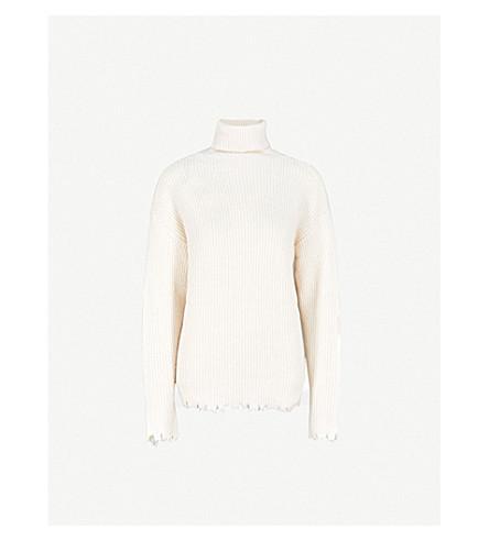 MO&CO. Raw-edged wool-blend jumper (Gardenia
