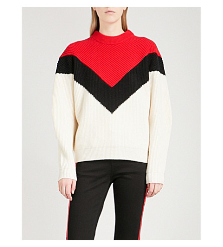 MO&CO. Colour-block wool jumper (Gardenia