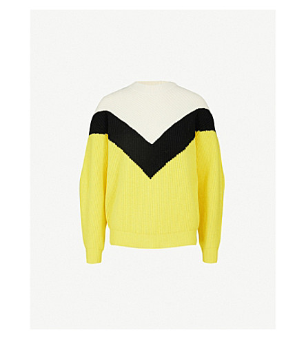 MO&CO. Colour-block wool jumper (Yellow