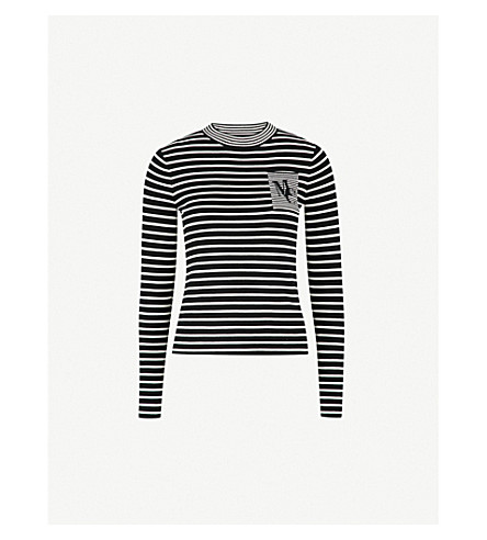 MO&CO. Striped wool-blend jumper (Black+and+white