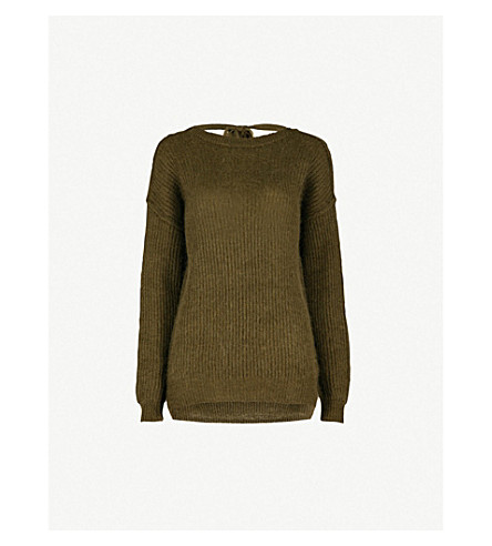 MO&CO. Cutout-back knitted jumper (Cypress