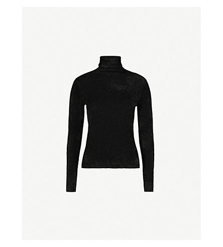 MO&CO. Turtleneck woven top (Black