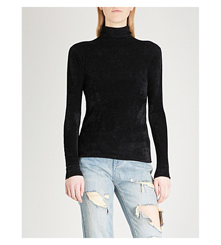 MO&CO. Turtleneck woven top (Black
