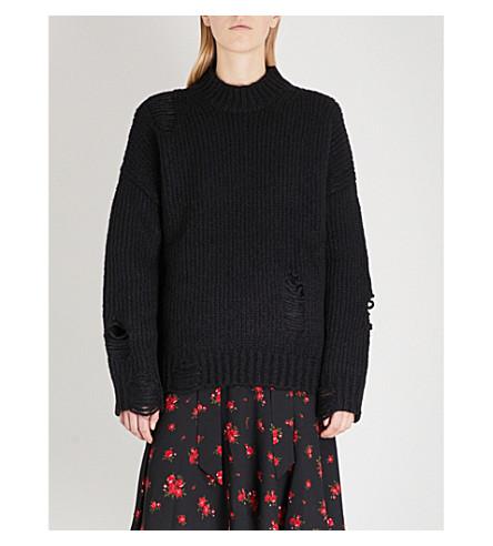 MO&CO. Destroyed high-neck wool-blend jumper (Black