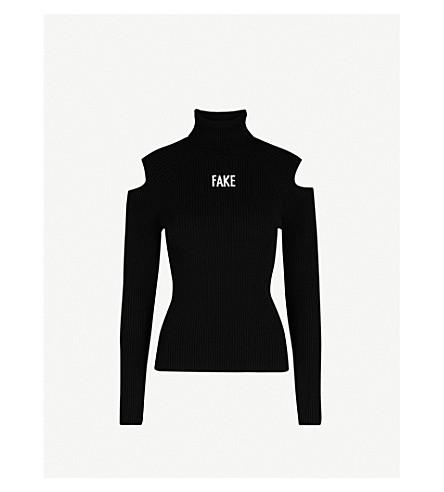 MO&CO. Fake turtleneck knittted jumper (Black