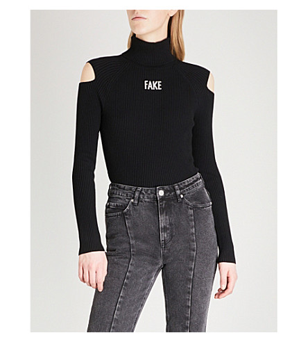 MO&CO. Fake turtleneck knittted jumper (Black