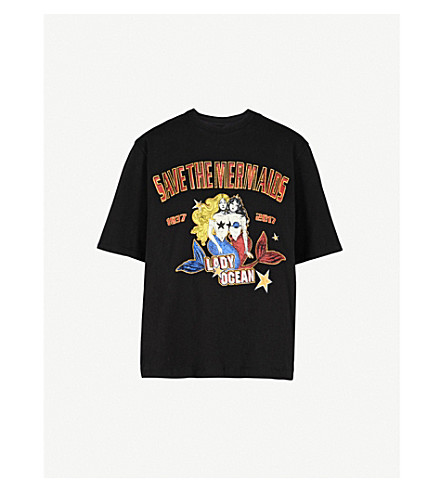 MO&CO.美人鱼打印平纹针织棉 T 恤 (黑色