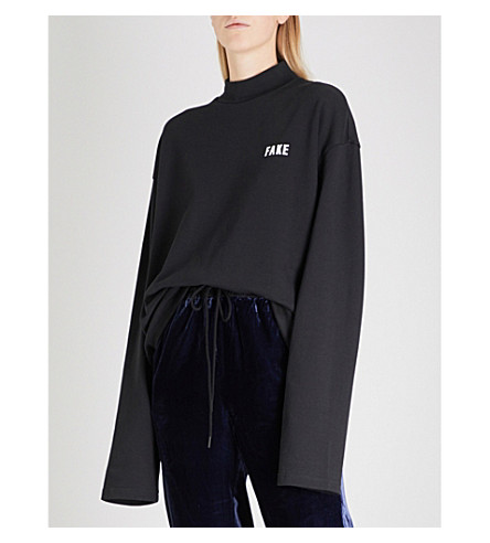 MO&CO. Shh slogan-print cotton-blend sweatshirt (Black