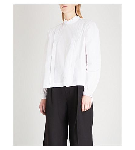 MO&CO. Rickrack-detail cotton shirt (Snow+white