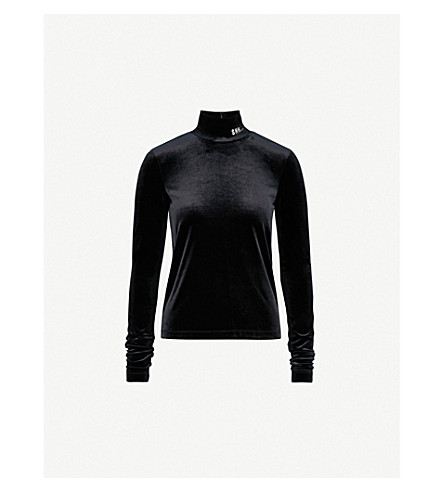 MO&CO. Shh slogan-embroidered velvet top (Black