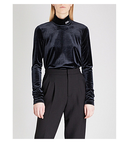 MO&CO. Shh slogan-embroidered velvet top (Black