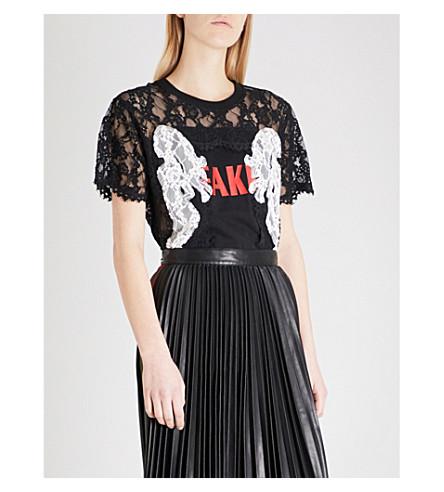 MO&CO.假口号打印蕾丝 T 恤 (黑色