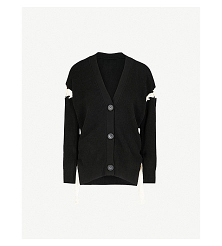 MO&CO. Tie-up wool cardigan (Black